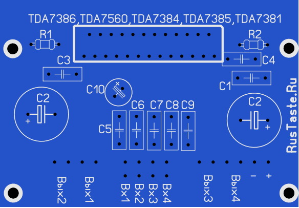 Фото печатной платы для TDA7386,TDA7560,TDA7384,TDA7385,TDA7381