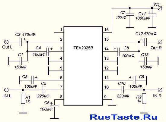 Схема стерео усилителя 4 Вт на TEA2025B