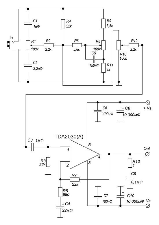 Схема усилителя TDA2030A 2х18ВТ с пассивным регулятором тембра и громкости