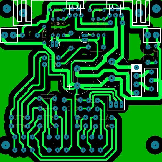 Печатная плата усилителя TDA2030A 2х18ВТ с пассивным регулятором тембра и громкости