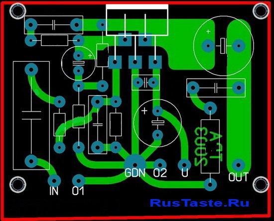 Вот печать (вид сверху). Подключения усилителя на микросхеме TDA2003