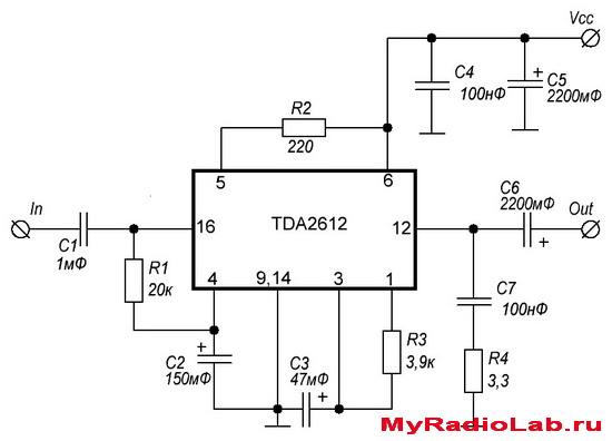 Cхема усилителя TDA2612