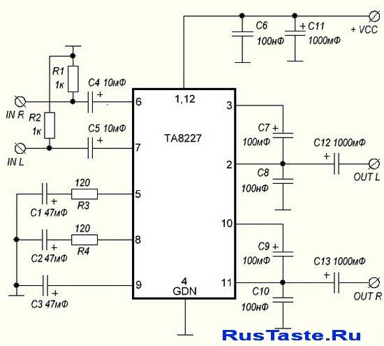 Схема усилителя на TA8227P