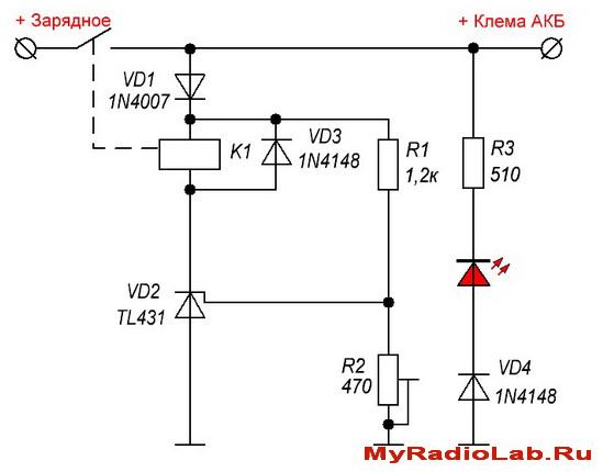 Схема умной защиты АКБ от переполюсовки на TL431(12В/6В)