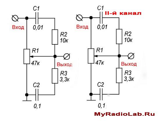 Схема пассивного регулятора громкости