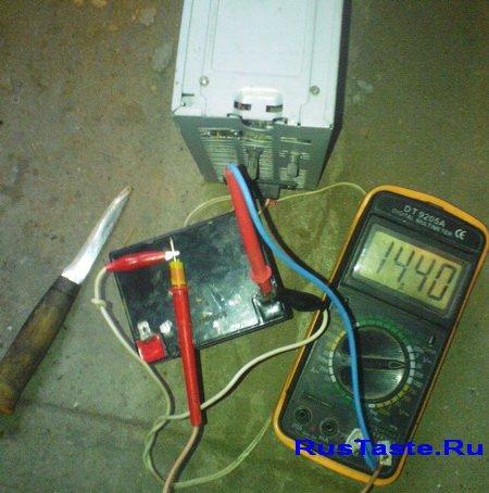 Выставленное на зарядке напряжение 14.4В