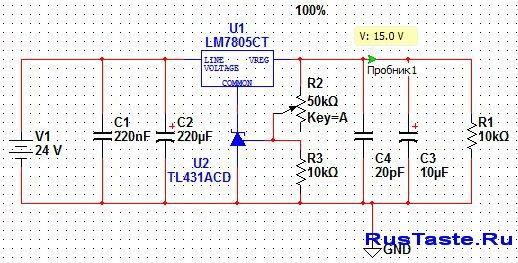Увеличение напряжения интегрального стабилизатора 78xx