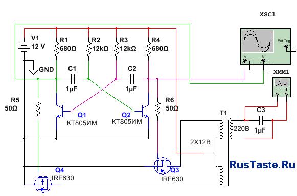 Схема преобразователя напряжения 12 220 на мультивибраторе