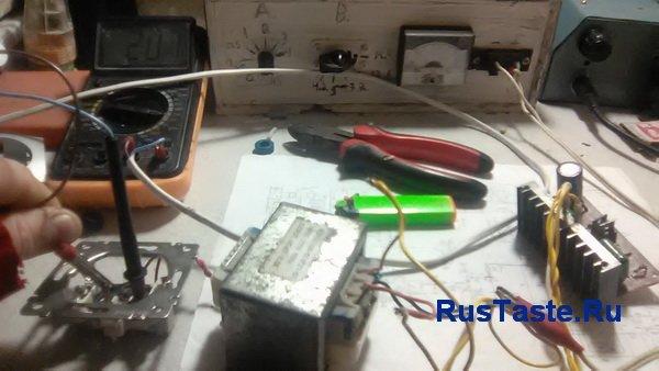 Выходное напряжение 207В преобразователя на мультивибраторе