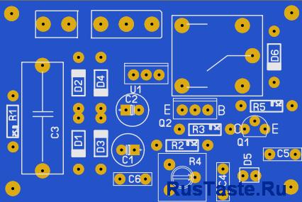 Печатная плата. Датчик света-темноты для автоматического управления освещением