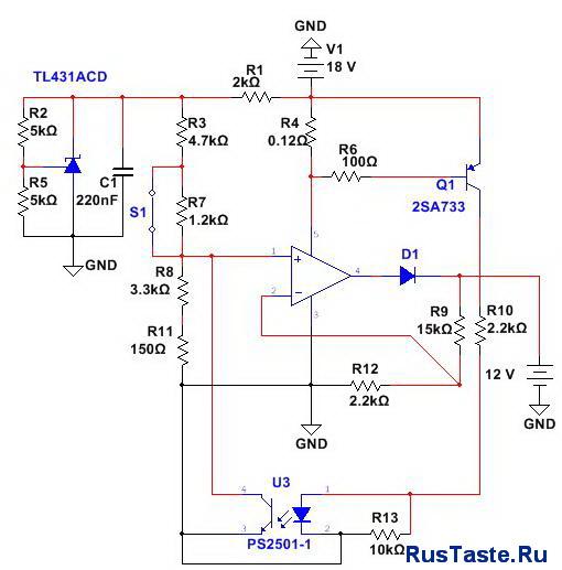 Схема зарядное устройство 14,4В/16,5В 5А TDA2050 для свинцовыхАКБ
