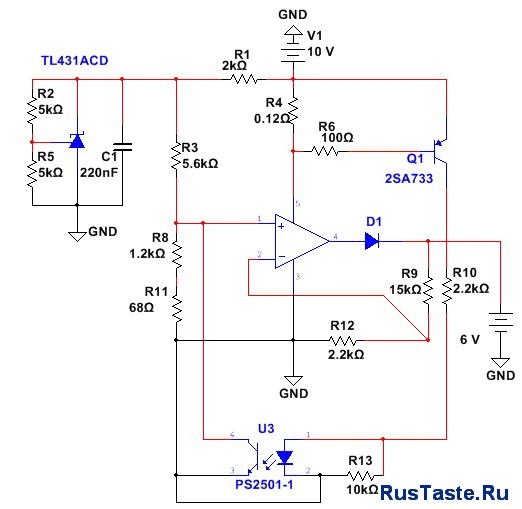 Схема зарядное устройство 6В 5А TDA2050 для свинцовыхАКБ