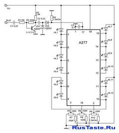 Индикатора уровня сигнала на К1003П1(A277, UL1890N, UAA180)