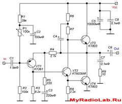 Усилитель на транзисторах Класс А 10Вт