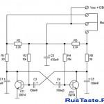 Простая схема мультивибратора на транзисторах