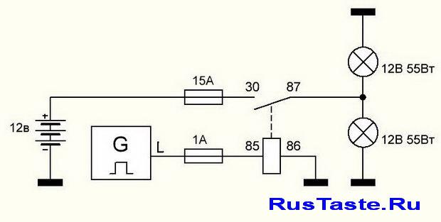 Схема ходовые огни на ВАЗ