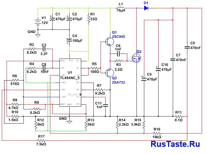 Схема преобразователяTl494