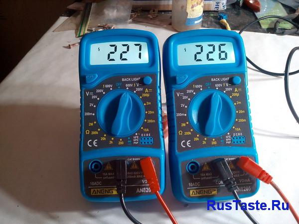 Измерю сетевое напряжение 220В