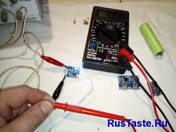 Модуль TP4056 напряжение холостого хода