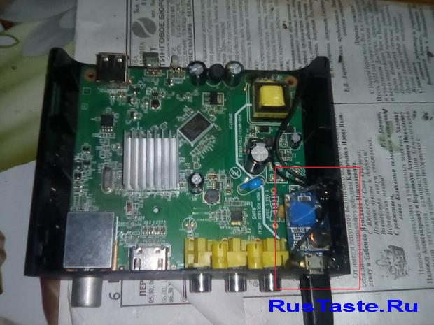 Установка разъема USB в приставку Т2