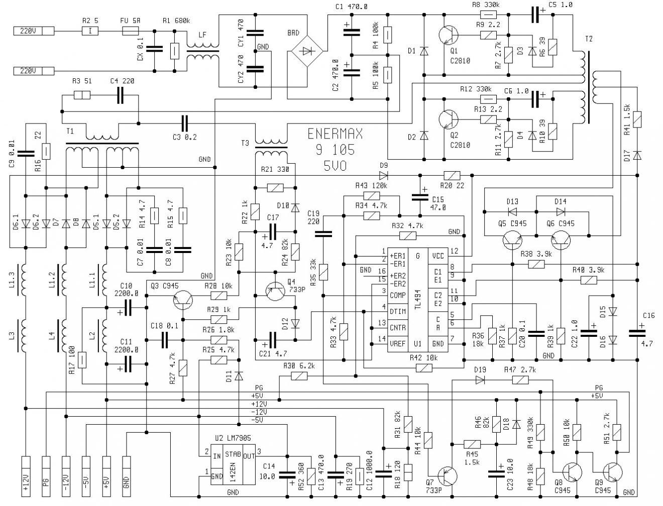 Схема компьютерного блока питания AT