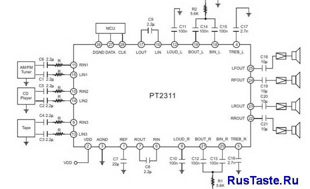 Схема PT2311