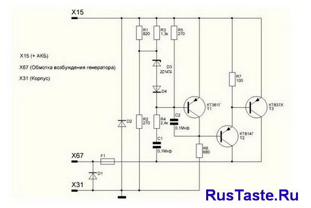 Схема реле регулятора ВАЗ