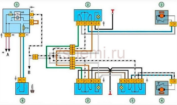 Схема электро стеклоподъемников ВАЗ