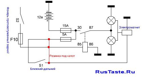 Схема противотуманных фар (ПТФ) на Весту